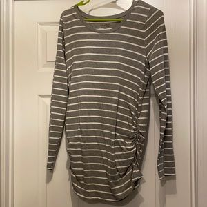 Maternity grey and white striped long sleeve